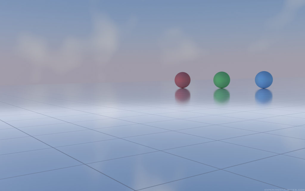 Red, green and blue spheres