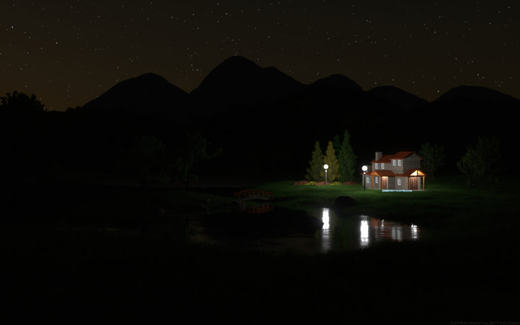Countryside Landscape At Night Experimental Bytes
