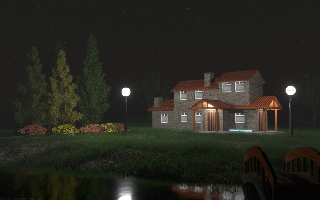 Peaceful house at night